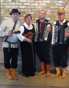 Finn Hall musicians, Ralph Tuttila – mandolin, Cheryl Paschke – violin and nyckelharpa, Dennis Halme – accordion, and Al Reko – accordion and vocals.